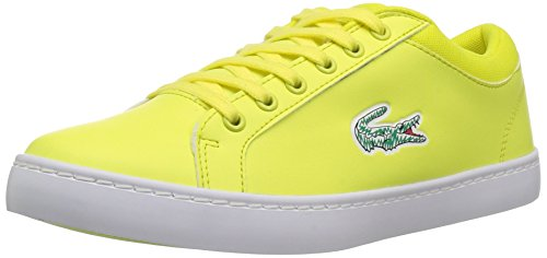 Lacoste Lace Sneakers (Lacoste Kids' Straightset Lace Sneakers, Fluro Ylw/White synthetic, 4 M US Big Kid)