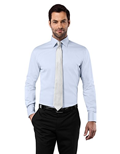 Vincenzo Boretti Men's Shirt Slim Fit Non Iron Uni,ice-blue,17.5