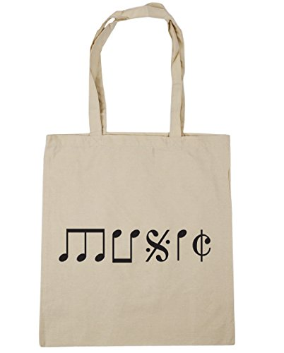 Beach Tote 42cm Music litres 10 Gym Natural x38cm Shopping HippoWarehouse Bag Type Note xw1qFF4B