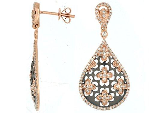 Milano Jewelers .73CT Diamond 14KT Rose Gold 3D Open Filigree Flower Tear Drop Hanging Earrings ()