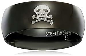 Men's Black Ip Skull with Skull Deisgn Lasered Ring, Size 9