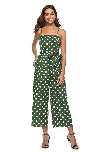 FairyMei Women's Striped Waist Belted Back Wide Leg Casual Loose Polka Dot Jumpsuit Rompers with Floral Print Pleated mid Dress(XL,Green) ()