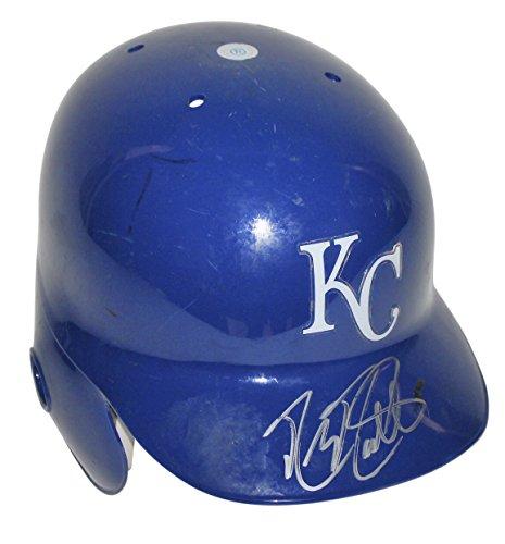Autographed Baseball Batting Helmet (Royals Mike Moustakas Authentic Signed Game Used Batting Helmet MLB #JC233334)