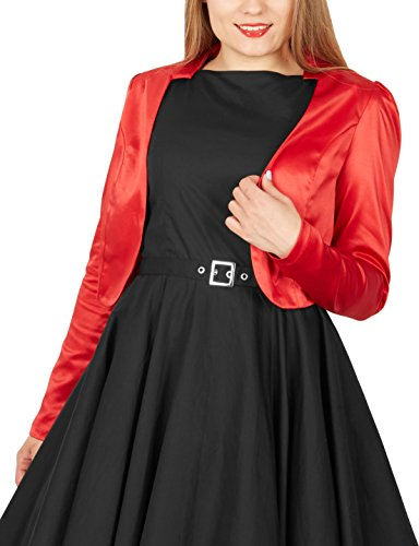 BlackButterfly Formal Satin Long Sleeve Bolero Shrug (Red, US 6)
