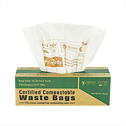 100% Compostable Bags By Primode 2.6 Gallon Food Scraps Yard Waste Bags, Extra Thick 0.71 Mil. Biodegradable Compost Bags ASTMD6400 Small Kitchen Bin Trash Bags, BPI and VINCETTE Certified,White (100)