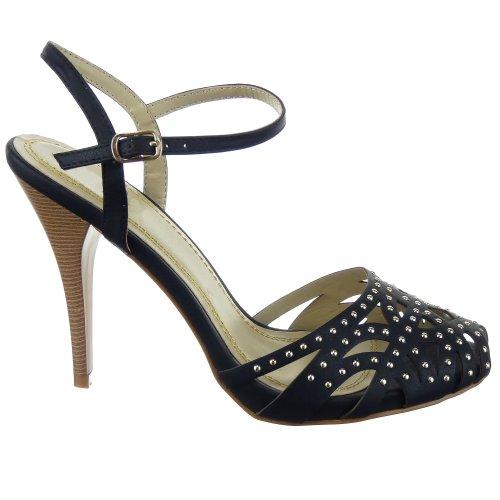Sopily - Scarpe da Moda scarpe decollete Stiletto alla caviglia donna borchiati stelle strass 11 CM - Nero