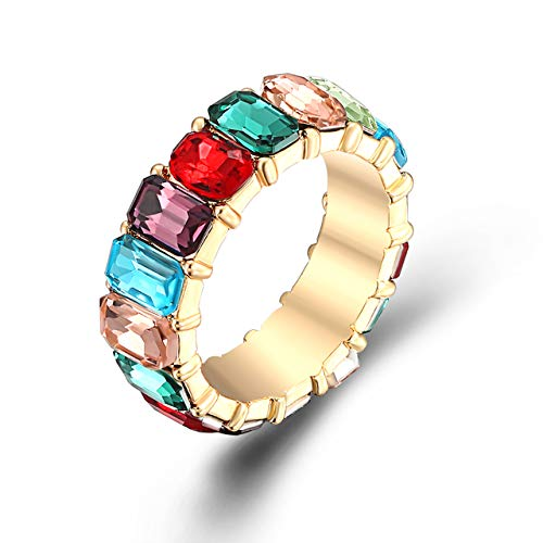 TIKCOOL Multicolored Crystal Rings for Women Rainbow Simulated Gemstone Band Rings Diamond Finger Ring (Gold, 6) -