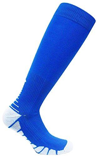 FDX Plus Size/Big & Tall Cushioned Compression Socks (Blue/White) (Adult Go Ped)
