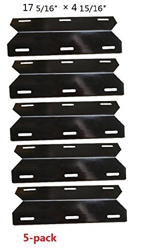 Hongso PPC041 (5-pack) Porcelain Steel Heat Plate, Heat Shield, Heat Tent, Burner Cover, Vaporizor Bar, and Flavorizer Bar Replacement 93041 NGCHP3 for Charmglow Permasteel, Sams, Members Mark 720-0584A, Perfect Flame and other Gas Grill, NGCHP3 (17 5/16