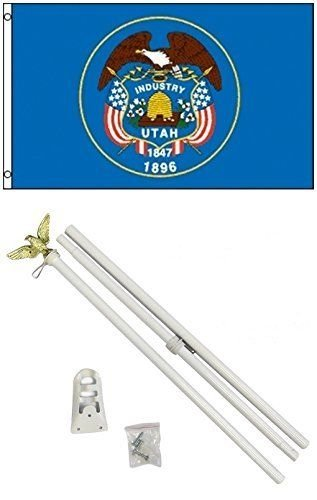 ALBATROS 3 ft x 5 ft State of Utah Flag White with Pole Kit Set for Home and Parades, Official Party, All Weather Indoors Outdoors