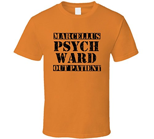 SHAMBLES TEES Marcellus Michigan Psych Ward Funny Halloween City Costume T Shirt L Orange
