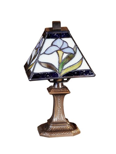 - Dale Tiffany TA100353 Irene Mini Accent Lamp, Antique Brass and Art Glass Shade