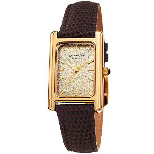 Akribos XXIV Leather Women's Watch – Small Rectangular Case, Gold Leaf Dial, Lizard Embossed Tan Skinny Strap, Three Hand Quartz Movement – ()