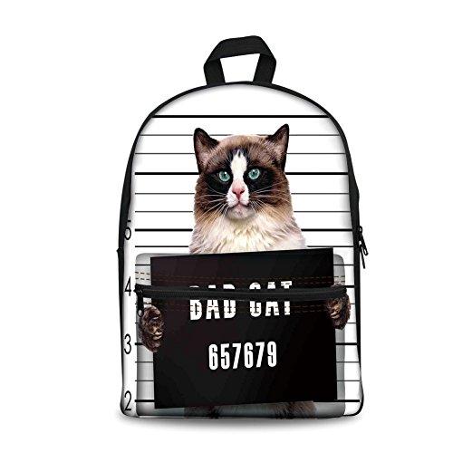 (Design the fashion fo Kids Back to School Backpack, Canvas Book Bag,Cat Lover Decor,Bad Gang Cat in Jail Kitty Under Arrest Criminal Prisoner Hangover Artsy Work,Brown Black White.)