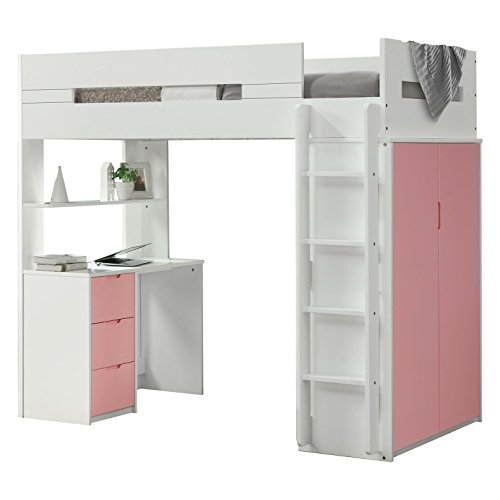 "Major-Q 9038040 70"" H Youth Style Pink/White Wooden Twin Loft Bed with Desk Shelf and Wardrobe"