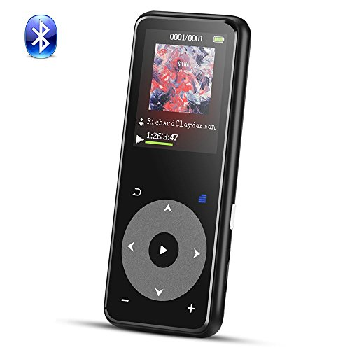 8GB Bluetooth MP3 Player with Touch Button, Metal Lossless Music Player with FM Radio/Voice Recorder, 1.8in TFT Screen, Support up to 128GB, AGPTEK A16, Black (State Audio Solid Player)