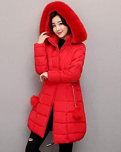 colore Winter Medium Zhrui Piumino Con Rosso Long Dimensione Da Donna Cappuccio Parka qFwP0