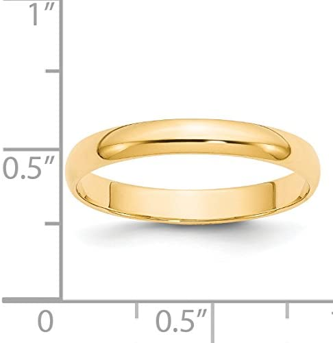 14k Yellow Gold 3mm Half Round Wedding Band Ring Fine Jewelry Ideal Gifts For Women