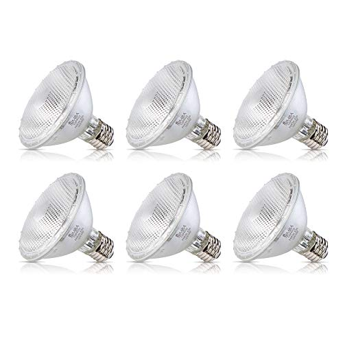 Track Halogen Par30 Ge - Simba Lighting Halogen PAR30 Short Neck Light Bulb 60W 60PAR30/FL 30deg Spotlight Dimmable (6-Pack) for Indoor Recessed Can and Outdoor PAR 30, 120V E26 Base, 75W Replacement, 2700K Warm White