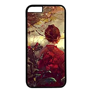 Hard Back Cover Case for iphone 6 4.7,Cool Fashion Black PC Shell Skin for iphone 6 4.7 with Abstract Painting - The Back of a Woman