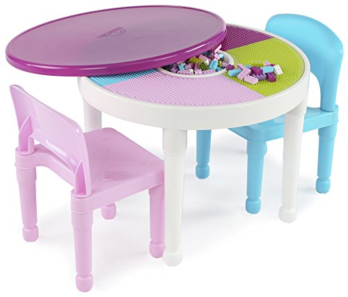 Tot Tutors Kids 2-in-1 Plastic Building Blocks-Compatible Activity Table and 2 Chairs Set, Round, Pink/Light Blue Colors (Collection Storage Bench Anna)