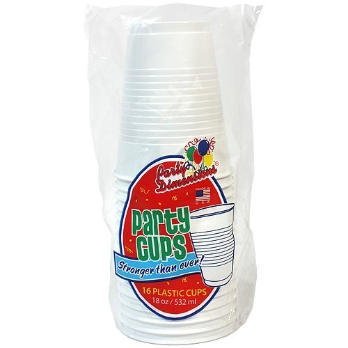 Party Dimensions 16 Count Plastic Cup, 18-Ounce, White
