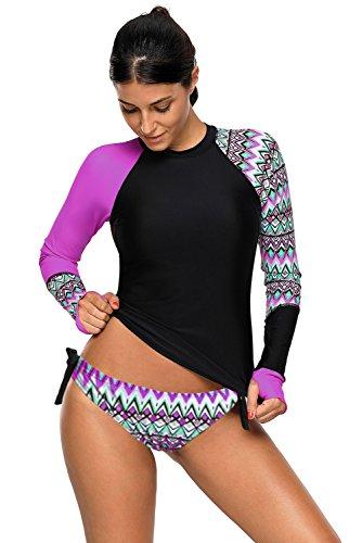 Shawhuwa Womens Long Sleeve Vibrant Print Rash Guard Swim Shirt Tankini Swimsuit XXL Purple ()