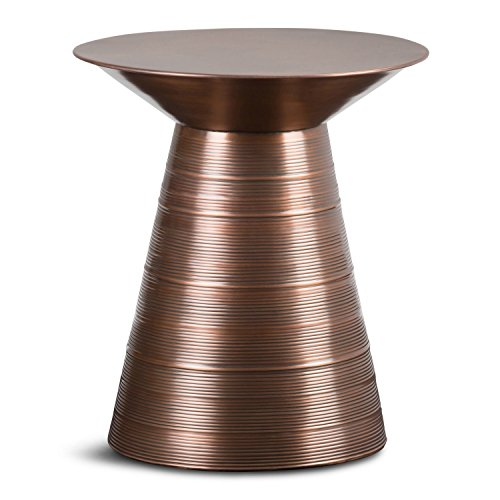 Simpli Home AXCMTBL-10 Sheridan Contemporary 18 inch Wide Metal Accent Side Table in Aged Copper, Fully Assembled (Assembled Garden Furniture Fully)