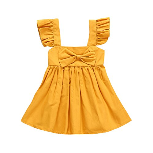 GRNSHTS Baby Girls Yellow Bowknot Ruffles Dress (90 / 12-18 Months, (Girls Dress Yellow)