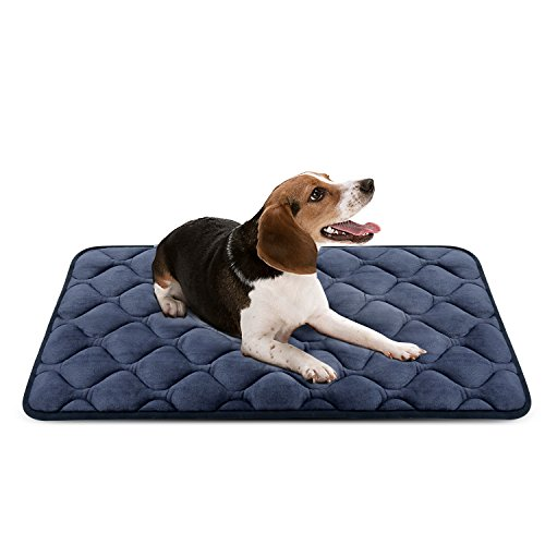 Hero Dog Medium Dog Bed Mat 36 Inch Crate Pad Anti Slip Mattress Washable for Pets Sleeping (Grey M) (Plush Crate Mat)