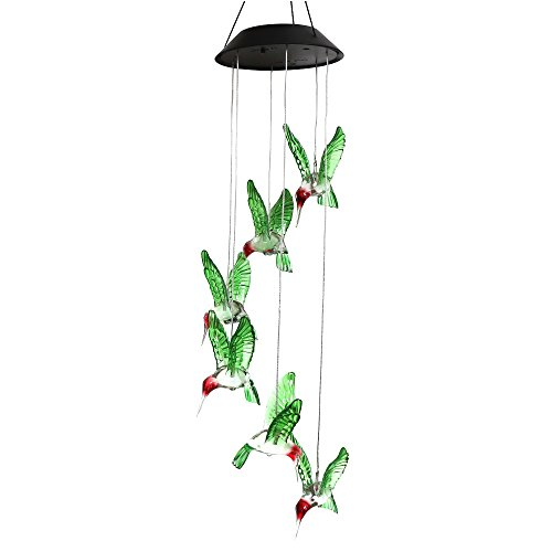 Lighten Glimmer Solar Wind Chimes Outdoor, Six Hummingbirds Color Changing Decorative Mobile Lights for Deck, Patio, Yard, Garden Decoration