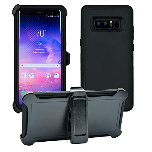 AlphaCell Cover compatible with Samsung Galaxy Note 8 | Holster Case Series | Military Grade Protection with Carrying Belt Clip | Protective Drop-proof Shock-proof | Black/Black (3 Note For Speck Case Phone)