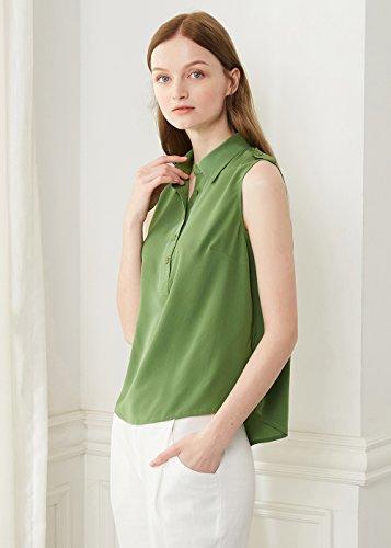 LILYSILK Camisa Mujer de Seda Sin Mangas - 100% Seda Natural 18 MM, Super Cómoda y Transpirable Col Verde