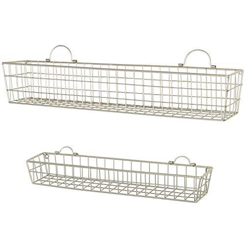 MyGift Wall-Mounted Brass-Tone Metal Mesh Hanging Storage Baskets, Set of -