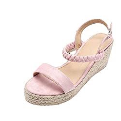 Hulkay Wedge Sandals For Women??�summer Ankle Tie Up Platform Peep Toe Sandals??�womens Casual Wild Sandals Ladies Beach Shoes Pink Us 8 Cn 41