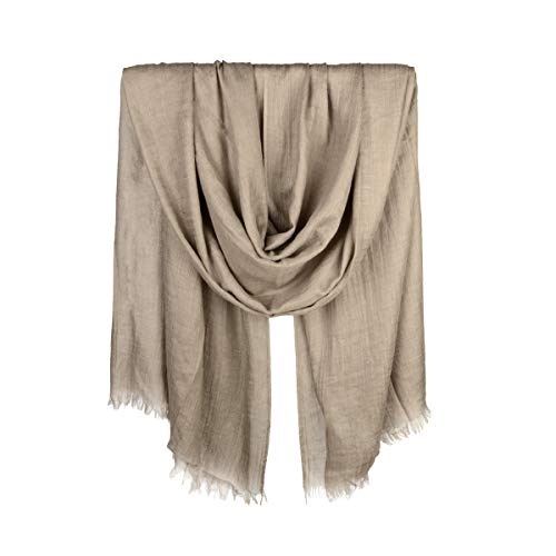Iristide Womens Long Scarf in Solid Color, Light Weight Large Shawls Wrap for Beach Outdoor Camping Traveling Sunscreen Neckwear 75×43 inch (Khaki)