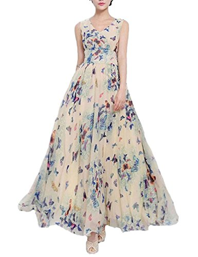 Chiffon Long Maxi Floral Dress Vintage Evening Cocktail Party Dress Medium (Butterfly Long Dress)