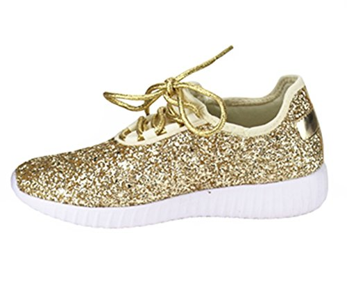 SF Forever Link Remy-18 Women's Jogger Sneaker-Lightweight Glitter Quilted Lace Up Shoes New Gold