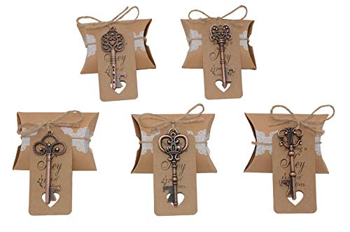 Wedding Favors for Guests 100 Pack Mixed Large Skeleton Key Bottle Openers Copper with Tag and Pillow Candy Box and Twine Vintage Bridal Shower Favors Bottle Openers 100 pack copper