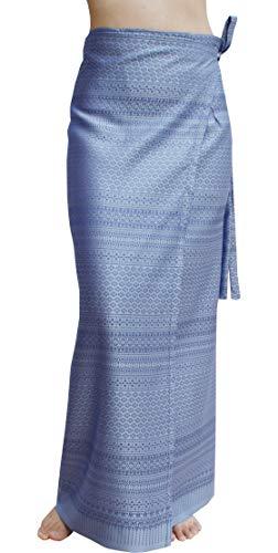 RaanPahMuang Brand Full Star Line Motif Thailand Silk Wrap Skirt Thai Formal Sarong, X-Large, Cornflower Blue