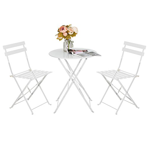 ARTALL Patio 3-Piece Folding Bistro Furniture Set, Outdoor&Balcony Table and Chairs Sets, White