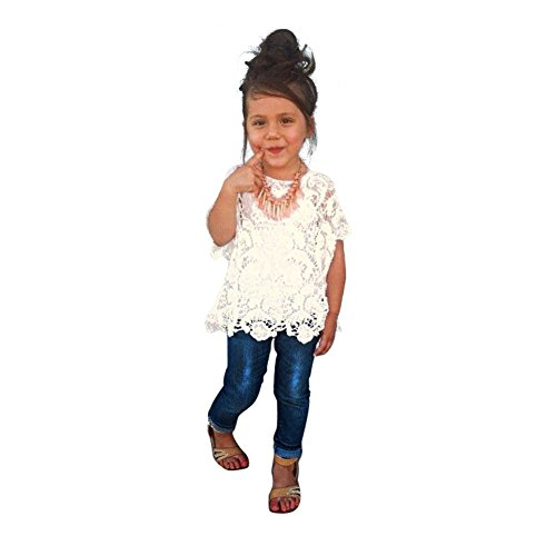 Evelin LEE Kid Girls' 3 Pieces Outfit Set Vest Tank Lace Cover Top Jeans Pants (5-6 years)