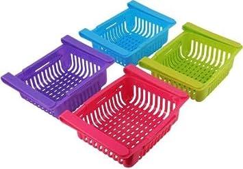 Peiroks 4 Pcs Expandable Adjustable Fridge Storage Basket Under Shelf Fridge Organiser...