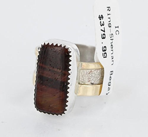 - .925 Sterling Silver and 12kt Gold Filled Handmade Certified Authentic Navajo Tigers Eye Native American Ring