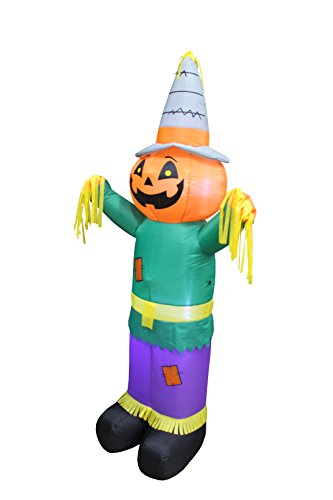 6 Foot Tall Happy Thanksgiving Halloween Inflatable Pumpkin Scarecrow LED Lights Decor Outdoor Indoor Holiday Decorations, Blow up Lighted Yard Decor, Giant Lawn Inflatables Home Family Outside by BZB Goods (Image #2)
