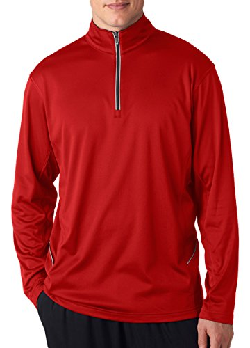 Ultraclub 8230 Adult Cool & Dry Sport 1/4-Zip Pullover - Red (1/4 Zip Adult Pullover)