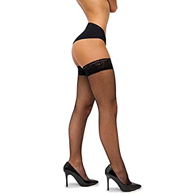 sofsy Fishnet Thigh-High Stockings - Lace Top Lingerie [Made In Italy] at Women's Clothing store