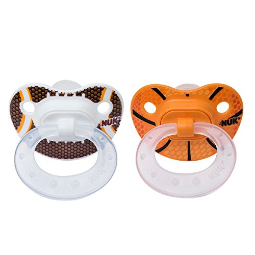 NUK 2 Piece Sports Orthodontic Pacifier, 18-36 Months, Silicone, Football/Basketball NUK USA 14239