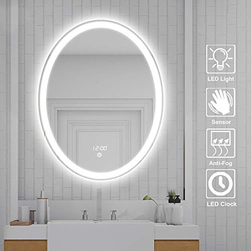 Elliptical Smart Bathroom Mirror, 500 × 700mm Touch Switch Stepless Dimming LED -