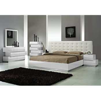 Amazon.com: J&M Furniture Dream White Leather Queen Size Bedroom ...